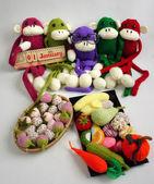 Rodina, vycpaných zvířat, nový rok, opice, legrační