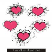 set of vector heart-shaped labels
