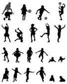 Black silhouettes of children playing vector