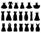 Silhouettes of different cocktail dresses vector illustration