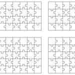 Vector illustration of four white puzzles, separat...