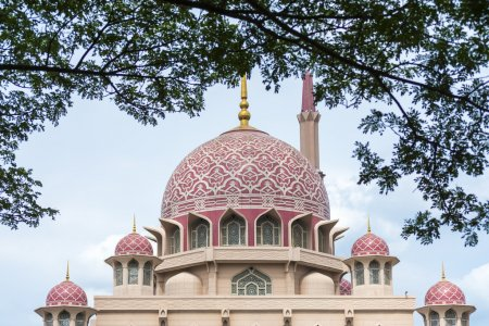 Close up view of Putrajaya Mosque with natural frame