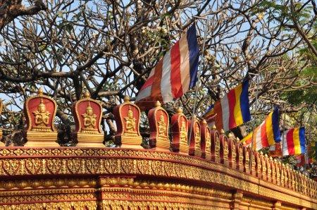 Beautiful detail of wall of  Wat Preah Prohm Rath