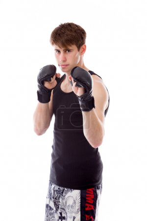 Model in gloves ready to fight