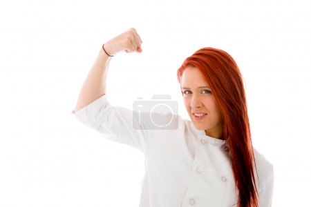 Model with arm curl