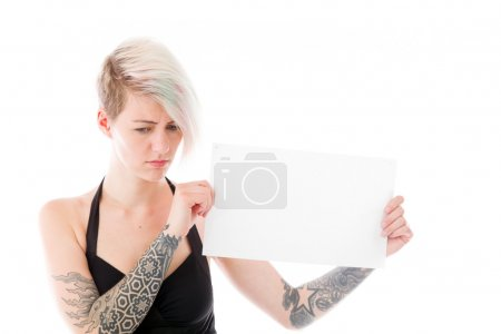 Model holding a blank sign