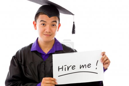 Model holding a Hire me sign