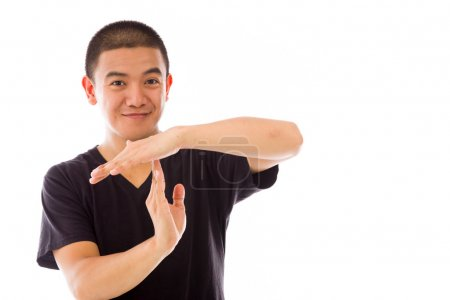 Model gesturing gesture break sign