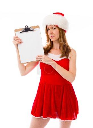 Model in santa hat showing blank board