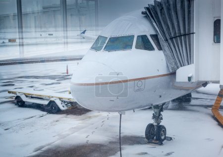 Airplane in winter weather