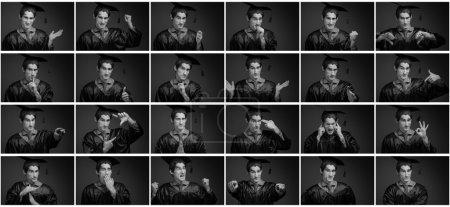 Photo pour Mosaïque d'images exprimant un large éventail d'émotions - image libre de droit
