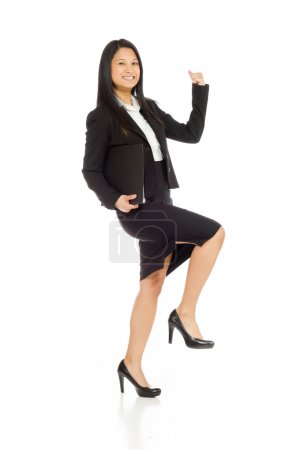 Model cheerful with fists up