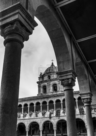 Photo for Low angle view of church against cloudy sky, Cusco, Peru - Royalty Free Image
