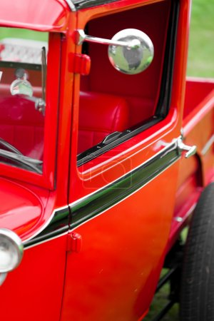 Wing mirror of a classic vintage car