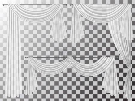 Illustration pour Ensemble de rideaux transparents différentes formes. Rideaux sont décorés avec des plis ondulés lambrequins zhabot pour la décoration de la fenêtre . - image libre de droit