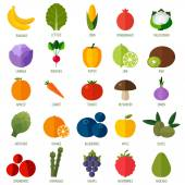 Colorful flat fruits and vegetables icons set