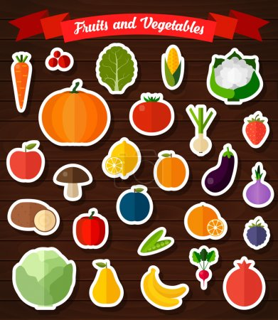 Colorful flat fruits and vegetables stickers set.