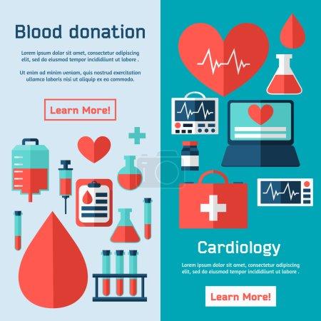 Illustration pour Don de sang. Cardiologie. Affiche médicale avec éléments vectoriels plats. Ensemble de concept de conception de donneur . - image libre de droit