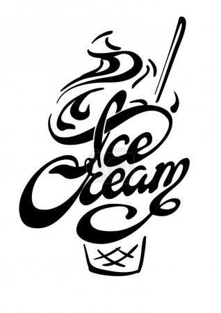 Illustration for Typographic poster. Ice-cream - Royalty Free Image