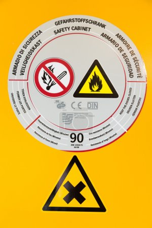 Sticker on safety cabinet for chemicals
