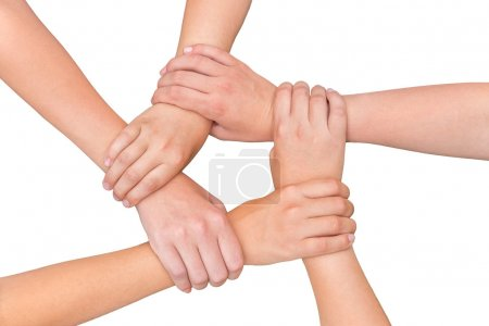 Photo for Five arms with hands of girls holding each other joining on white background - Royalty Free Image