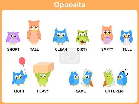Illustration for Opposite word for preschool - Royalty Free Image
