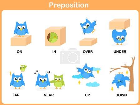 Illustration for Preposition of motion for preschool - Royalty Free Image