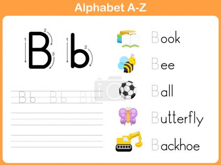 Illustration for Alphabet Tracing Worksheet: Writing A-Z - Royalty Free Image