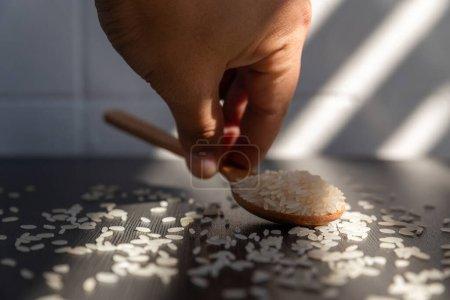 Photo pour Gros plan grain de riz. basmati riz nourriture background.Healthy food.product de thailand. - image libre de droit