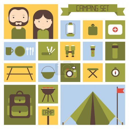 Illustration for Set of flat colorful vector camping equipment symbols and icons. - Royalty Free Image