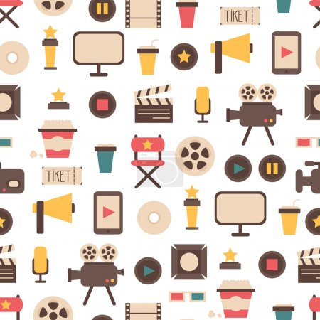 Seamless pattern of flat colorful movie design elements and cinema icons in flat style. Vector illustration. Background.