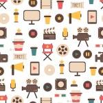 Seamless pattern of flat colorful movie design ele...