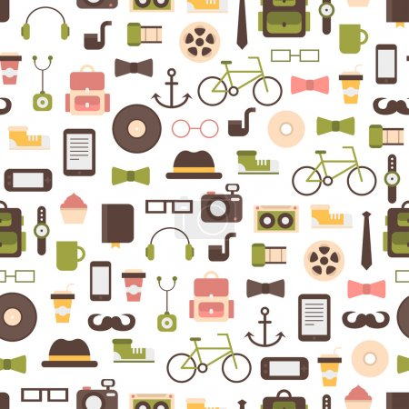 Seamless pattern of hipster vector colorful style elements and icons set for retro design. Infographic concept background. Illustration in flat style.