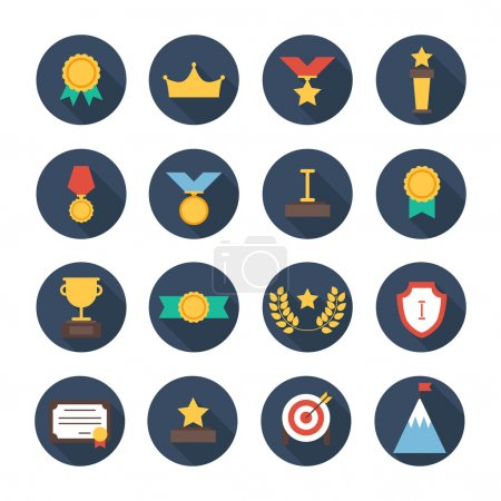 Award icons. Vector colorful set of prizes and trophy signs. Design elements. Illustration in flat style.