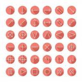 Vector thin icons set for web and mobile Line simple arrows Design elements  with long shadow effect Illustration in flat style