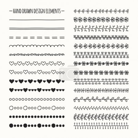 Hand drawn vector line border set and scribble design element. Illustration of doodles.