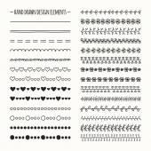 Elemento di disegno insieme di bordo linea vettoriale disegnato a mano e disegno a mano libera. Illustrazione di Doodle