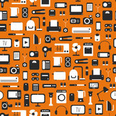 Seamless pattern of electronic devices and home appliances colorful icons set in flat style Template vector elements for web and mobile applications