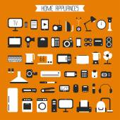 Set of electronic devices and home appliances colorful icons in flat style Template vector elements for web and mobile applications