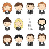 Set of colorful office people icons Businessman Businesswoman Funny cartoon hand drawn faces sketch for your design Collection of cute avatar Trendy doodle style Vector illustration
