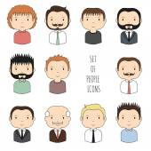 Set of colorful male faces icons Funny cartoon hand drawn faces sketch for your design Collection of cute man avatar Businessman Trendy doodle style Vector illustration
