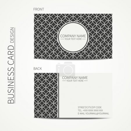 Vintage creative simple monochrome business card template for your design. Line seamless pattern with geometric pattern. Trendy calling card. Vector design eps10.