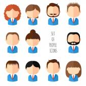 Set of colorful office people icons Businessman Businesswoman Man Woman Trendy flat style Funny cartoon faces characters for your design Collection of cute avatar Vector illustration