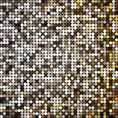 Vector golden abstract retro vintage pixel mosaic background of sparkling sequins for design. Gold disco shiny lights. Multicolor circles texture.