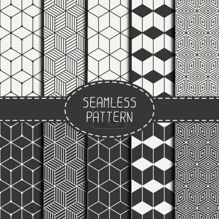 Illustration for Set of geometric abstract seamless cube pattern with rhombuses. Wrapping paper. Paper for scrapbook. Tiling. Vector illustration. Background. Graphic texture with optical illusion effect for design - Royalty Free Image