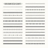 Ethnic hand drawn vector line border set and hipster scribble design element Native brushes Aztec geometric monochrome vintage fashion pattern for design Illustration Trendy doodle style