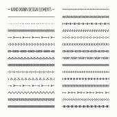 Ethnic hand drawn vector line border set and hipster scribble design element. Native brushes. Aztec geometric monochrome vintage fashion pattern for design. Illustration. Trendy doodle style.