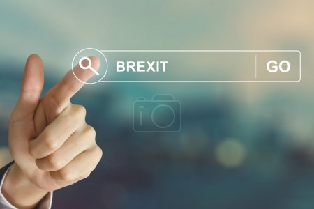 business hand clicking Brexit or British exit button on search t
