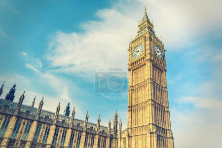 Big Ben and House of Parliament, London, UK, vintage style