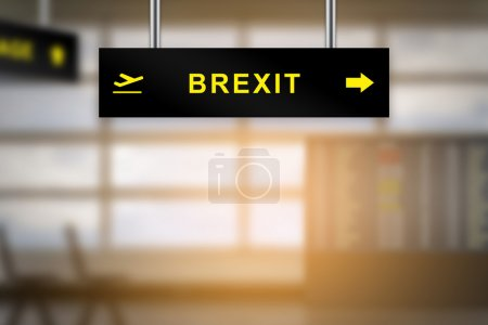 brexit or british exit on airport sign board